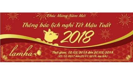 Tinh dầu Lam Hà thông báo lịch nghỉ tết 2018