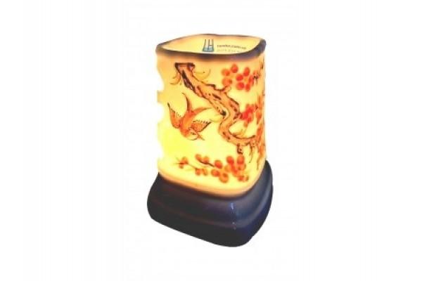 Đèn xông tinh dầu hoa đào nổi đỏ